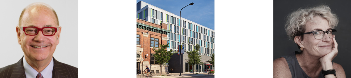 From left: A portrait of Tom Kuczmarski, an image of Town Hall Apartments from the street, a portrait of Ashton Applewhite