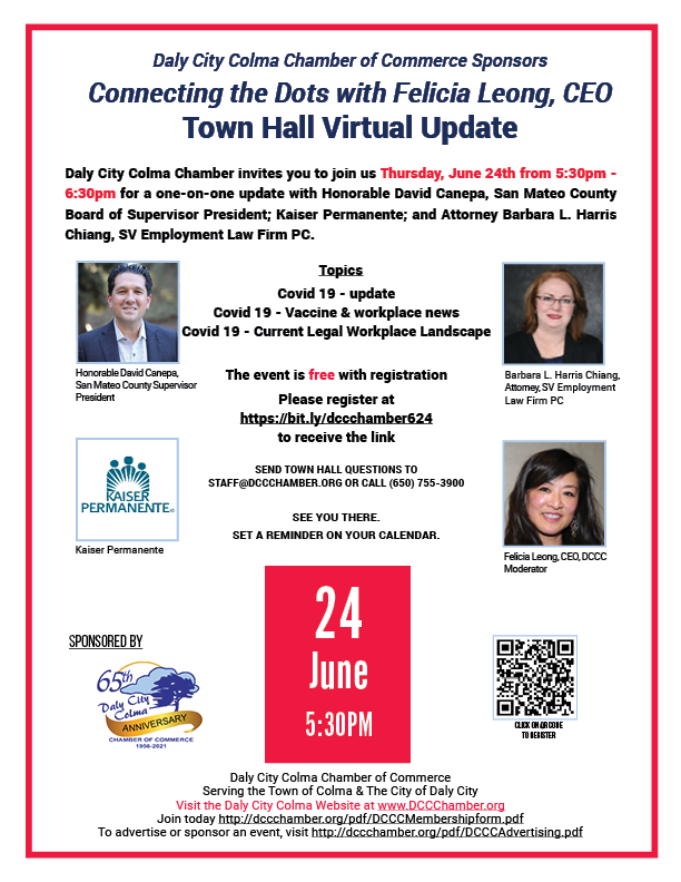 June 24 Townhall Virtual from 5:30-6:30pm with Felicia Leong, CEO as MC