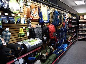 Scout shop wall o'camping gear