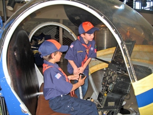 Cub Scouts in Hiller helicopter