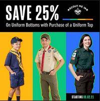 Scout Shop Sale graphic, 25% off uniform bottoms with purchase of uniform shirt