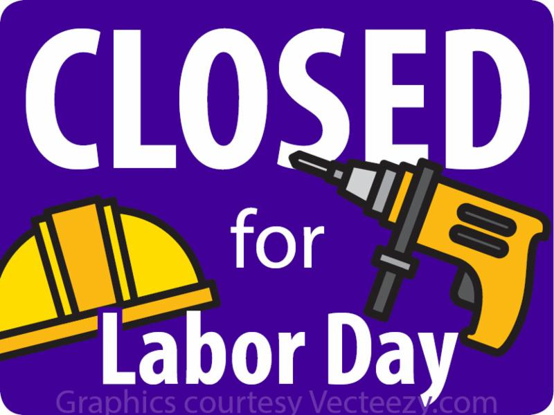 Purple and yellow CLOSED for Labor Day graphic