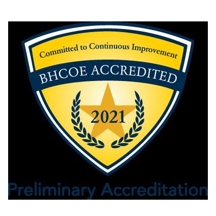 BHCOE preliminary accreditation badge