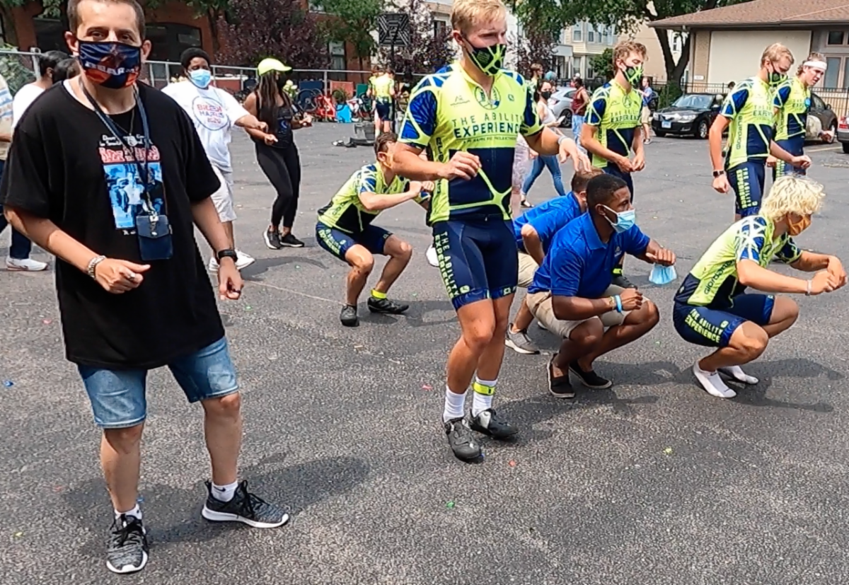 JOH cyclists exercise with members