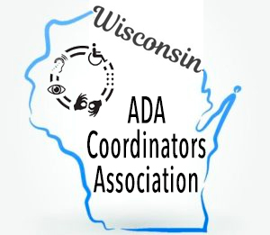 WI ADA Coordinators logo is a blue outline of the state with the words in black block letters. Graphic representations of a wheelchair, sign language and other icons are in a circle on the NW corner of the state.