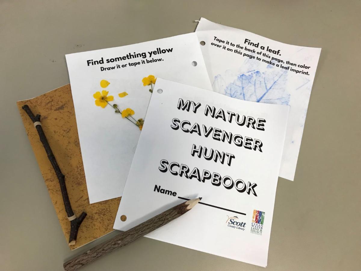 photo of supplies for Nature Scavenger Hunt Scrapbook
