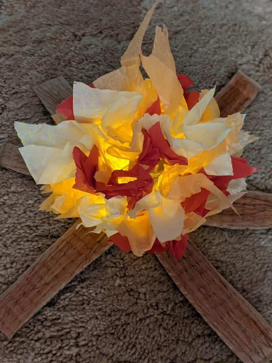 photograph of tissue paper and tea light campfire project