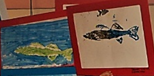 photograph of two gyotaku fish printing projects