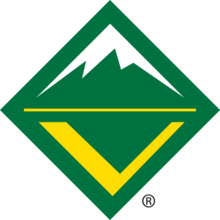 Logo for BSA's venturing [program. A diamond shape with green background and stylized letter V in the lower quadrant.