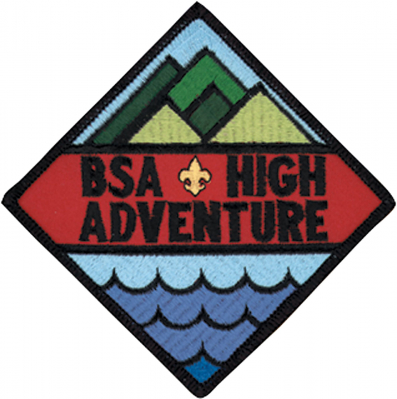 BSA's High Adventure logo. A Diamond shape with stylized mountains in the top third waves in the bottom third and the words BSA High Adventure in the middle.