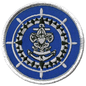 Sea Scouts Quartermaster patch. A ship steering wheel with Sea Scout logo in the center.
