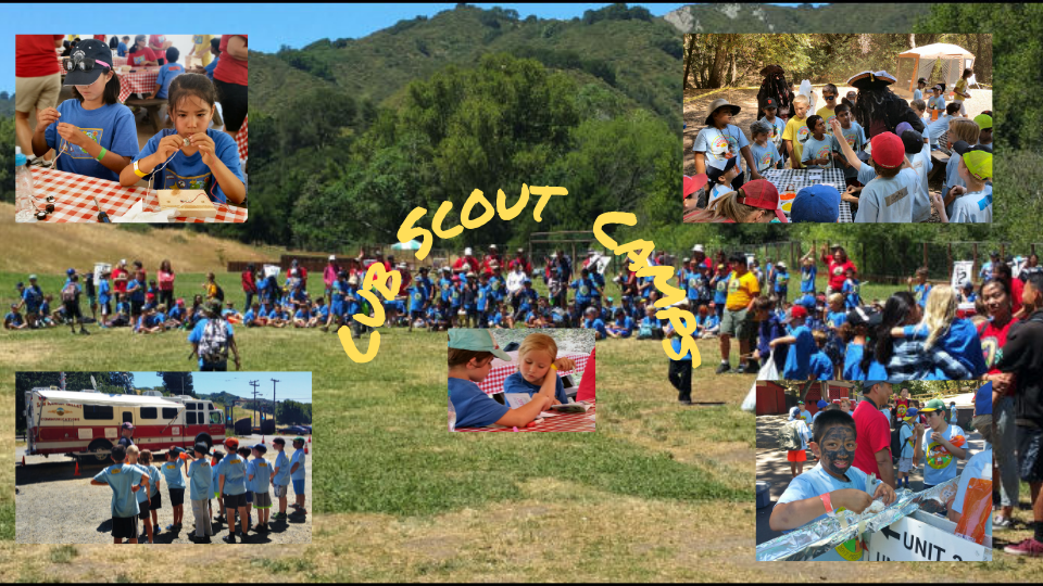 Cub Scout Day Camp with cubs in a campsite area and four pictures in the the picture showing various activities.