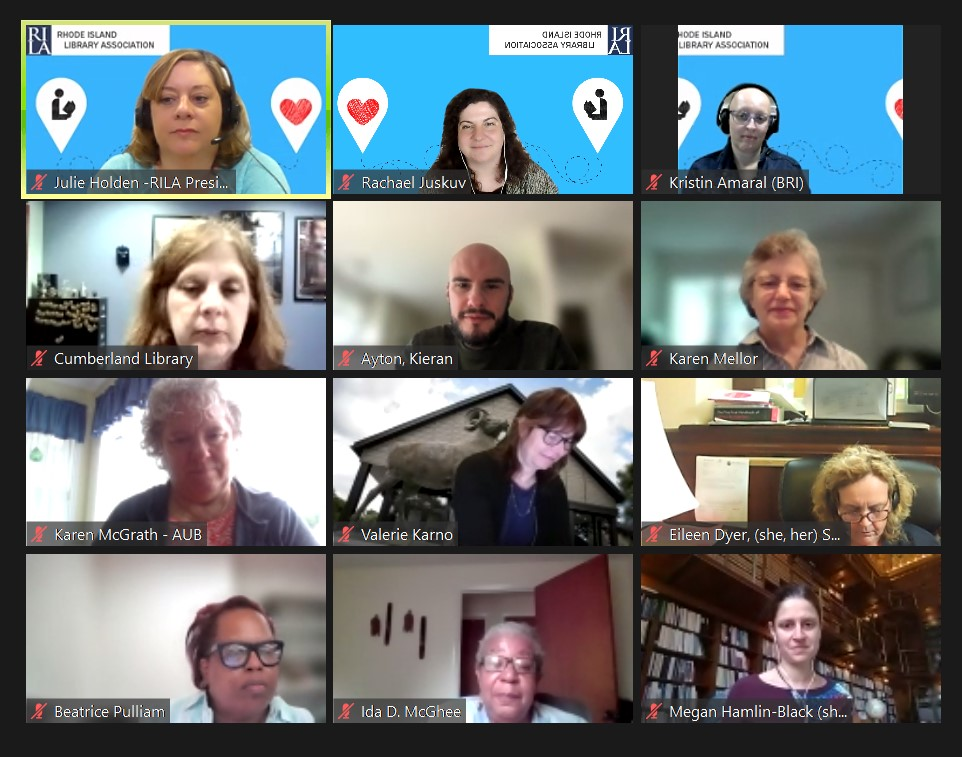 A screenshot of the Zoom board meeting at the 2021 RILA conference.