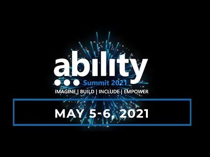 """Logo of Microsoft Ability Summit 2021 with the text """"Imagine, Build, Include, Empower"""" and dates May 5 - 6 2021. Text superimposed over photo of brilliant blue firework on black sky."""