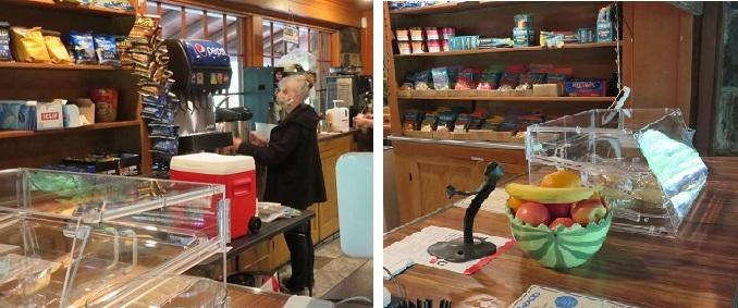 Collage of two photos of the homey, woodworked interior of Silver Falls Café. In the first, café manager Char Hawkins puts out coffee carafes. The second is a detail of a colorful fruit bowl and pastry case on the wood counter.
