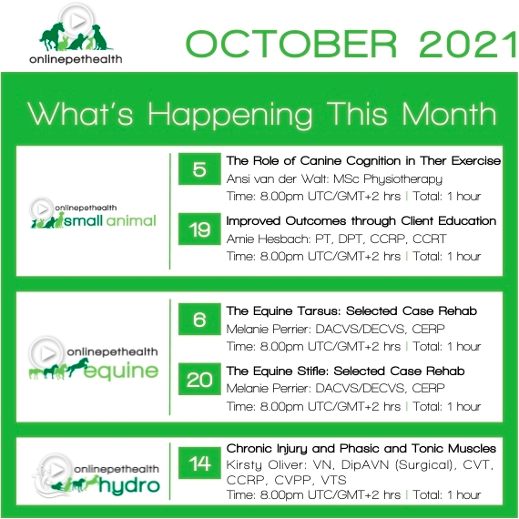 Onlinepethealth October 2021 events