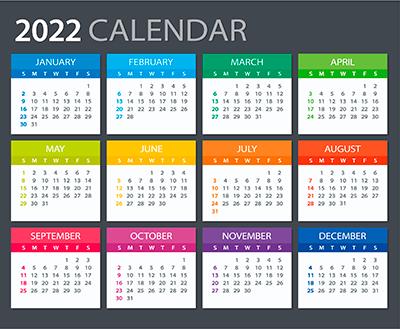2022 calendar graphic