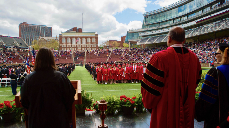 A UC Commencement Ceremony in Nippert Stadium.