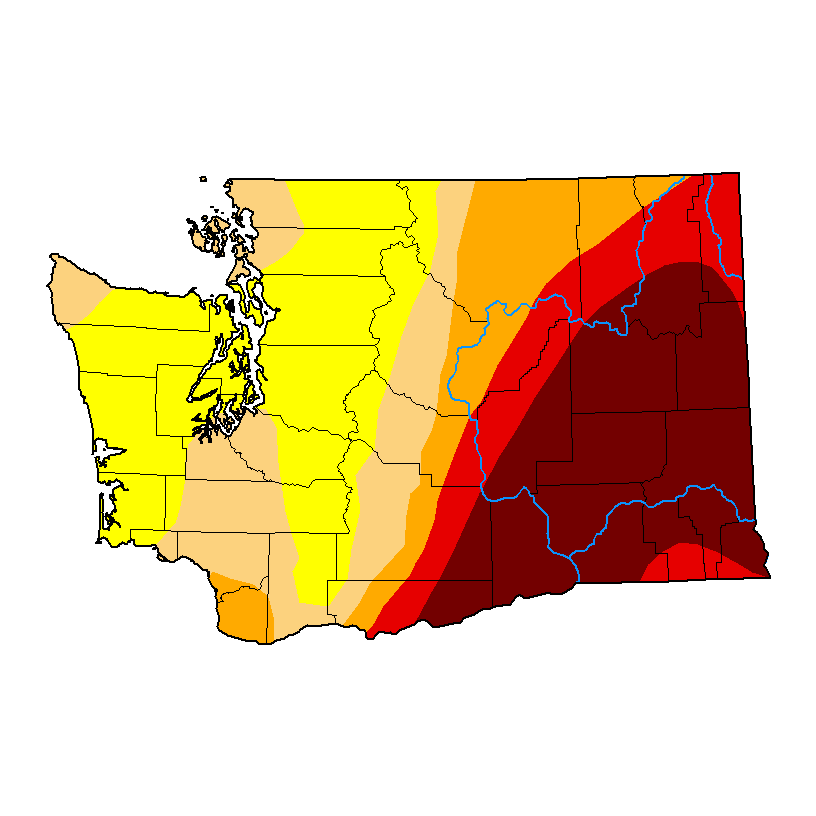 Map of Washington with yellow, orange, red, and deep red showing the levels of drought. Source: U.S. Drought Monitor