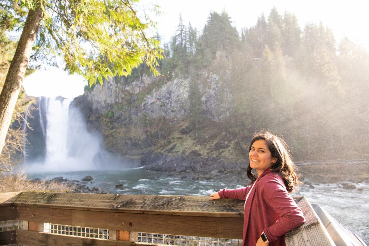 Woman standing on an overlook. A river, waterfall, and trees in the background. Sunshine highlighting the mist from the waterfall streams from the right.